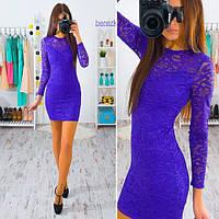 Платье короткое облегающее кружево и дайвинг разные цвета SMb829