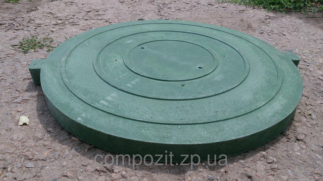 Крышка люка канализационного полимерпесчанного садового в зеленом цвете с доставкой в Запорожье, фото 1