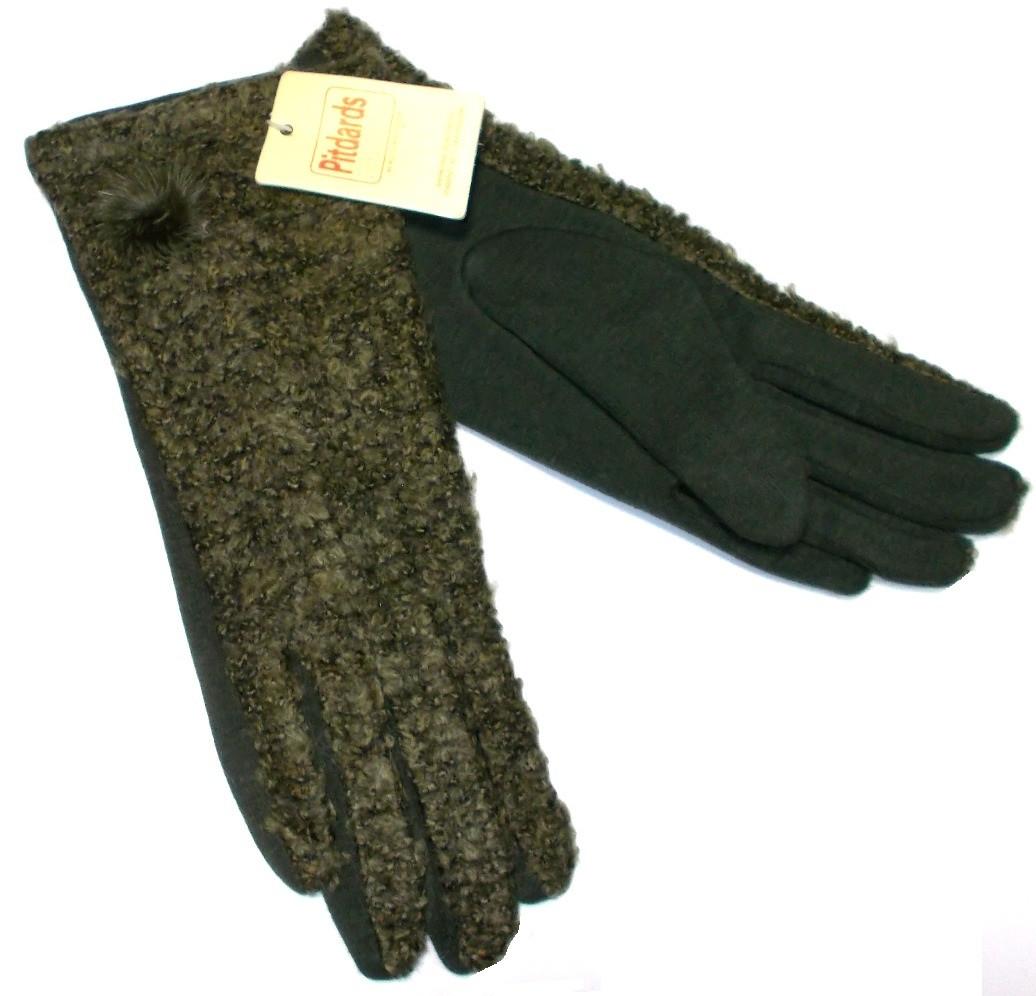Перчатки шерсть на меху теплые зеленые