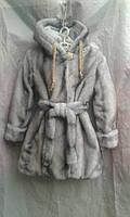 Шуба зимняя подростковая для девочки 8-11 лет,'Норка''серая, фото 1