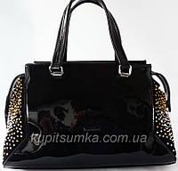 Роскошная сумка из натуральной кожи и замша со стразами коллекция
