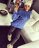 Теплый женский свитер LALO (голубой)