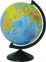 Глобус физический лакированный 26 см. с подсветкой, на пластиковой подставке