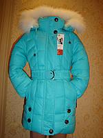 """Пальто зимнее""""Бирюза""""для девочек.раз-134,см"""