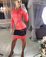 Платье с широкой вставкой набивного гипюра на юбке