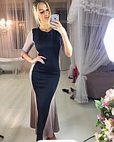 Платье длинное с черной вставкой