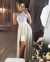 Платье верх гипюр, низ юбка с разрезом