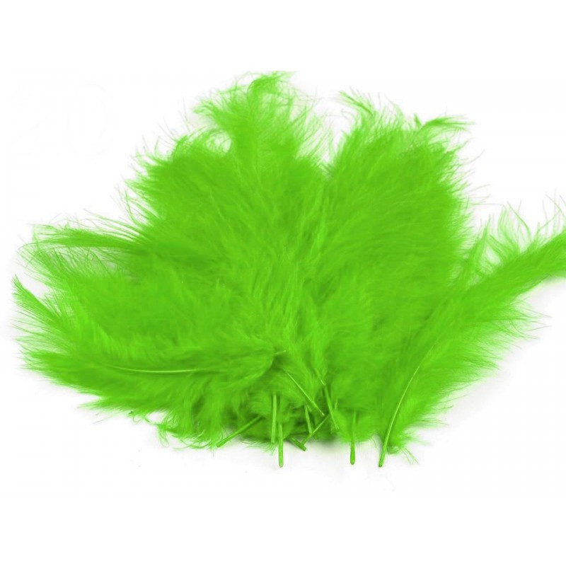 Перья декоративные (Перо) Марабу Зеленый лайм 5-10 см 10 шт/уп, фото 1
