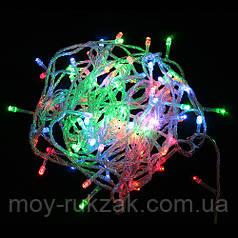 Гирлянда светодиодная LED разноцветная, прозрачный провод, 100 лампочек