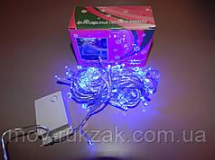 Гирлянда светодиодная LED синяя, прозрачный провод, 100 лампочек