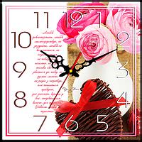 """Годинник настінний квадратний """"Любов довготерпить"""""""
