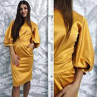 Женское золотое атлассное платье Комплимент