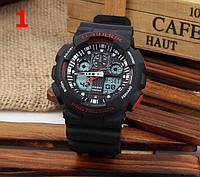 Часы Casio G-Shock GA100, наручные часы, черные с красным, стильные, оригинал