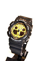 Наручные часы Casio G-Shock GA-100(черные с золотым), мужские, электронные, спортивные часы