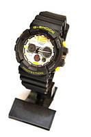 Многофункциональные часы CASIO G-SHOCK PROTECTION (черные с желтым и белым) карцевые, мужские, спортивные, фото 1