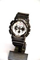 Многофункциональные часы Casio G-Shock GA-200 (черные с белым) карцевые, мужские, спортивные, наручные