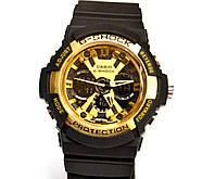 Многофункциональные часы Casio G-Shock GA-200 (черные с золотым) карцевые, мужские, спортивные, наручные
