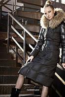Куртка с мехом енота на молнии  с накладными карманами