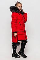 Пальто детское зимнее Лаура на девочку размеры 128- 158 Красное