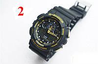 Часы Casio G-Shock GA100, черные с желтым , наручные часы, мужские часы, электронные, спортивные часы