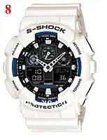 Часы Casio G-Shock GA100, белые, с черным циферблатом, наручные часы, электронные, спортиные