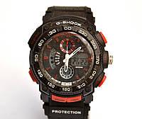 Многофункциональные часы Casio G-Shock Protection (черные с красным), кварцевые, мужские, спортивные, наручные