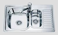 Кухонная мойка 78*50 см врезная две чаши Sofia металл 0,8 мм декорированная глубина 18 см