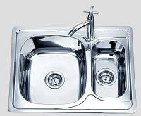 Кухонная мойка 63*50 см врезная две чаши Sofia металл 0,8 мм декорированная глубина 18 см