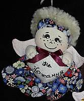 """Елочная игрушка ручной работы """"Ангел с любовью"""", (бордовый бантик), 15х15 см., 75/65 (цена за 1 шт. + 10 гр.)"""