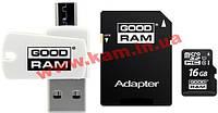 Карта памяти Goodram Class 10 UHS| 16GB microSDHC + SD adapter +reader (M1A4-0160R11)