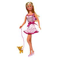 "Куклы и пупсы «Simba» (5734908) Штеффи с пёсиком ""Pink & Blond"" (вид 1)"