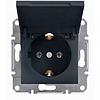 Механизм розетки 2К+З, 16А, немецкий стандарт с крышкой антрацит Schneider Electric Asfora