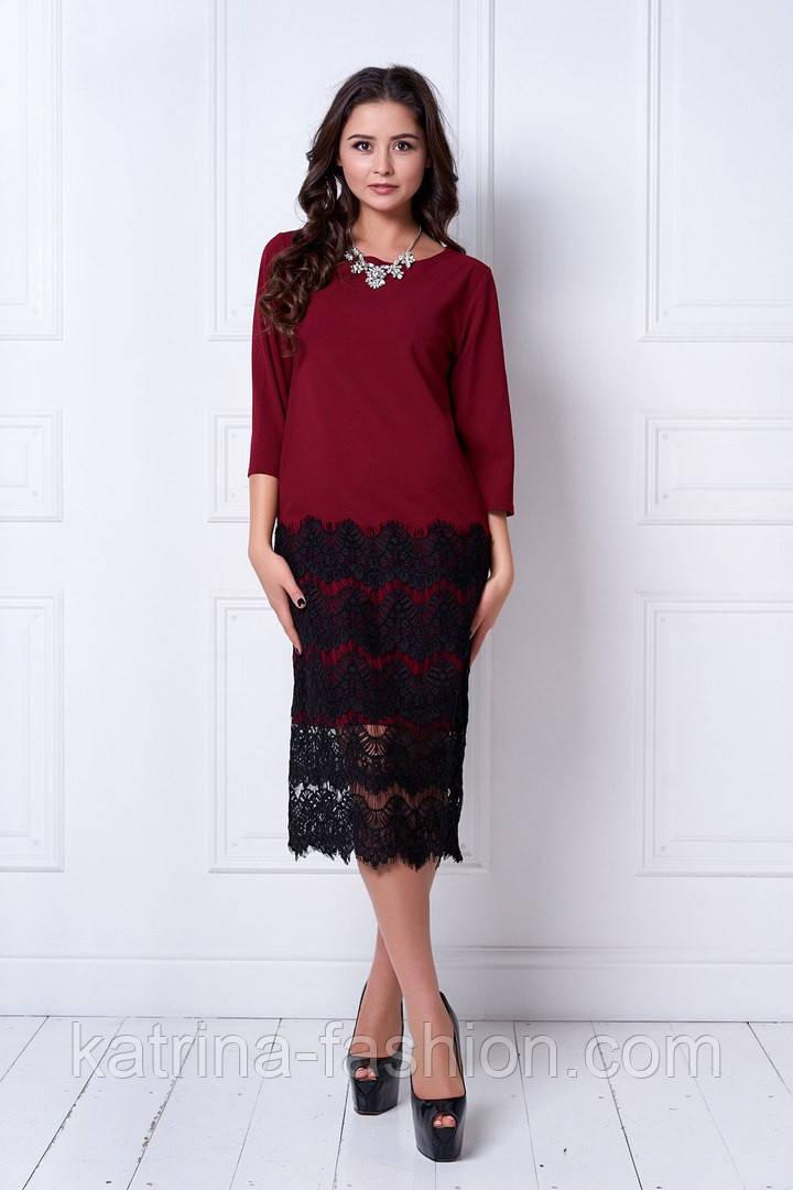 Женское праздничное прямое платье с кружевом (6 цветов)