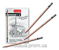 Набор графитовых карандашей EXPRESSION, 12шт., мет.коробка, Bruynzeel