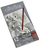 Набор графитных карндашей Cleos 12шт. мет упаковка Cretacolor