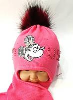 Комплект зимний на девочку шапка+шарф Польша