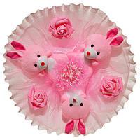 Букет из мягких игрушек Зайки в нежно розовом