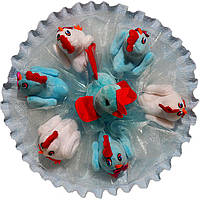 Букет из мягких игрушек Петух с цыплятами бело голубой