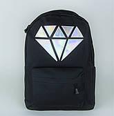 Чорний міський рюкзак з кристалом