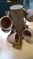 """Набор кофейных чашек на """"дереве"""" ,все из глины"""