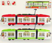 Игрушечный трамвай 1258 (1011848): свет фар и салона, музыка, коробка 48,5х7,5х13,5 см