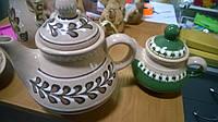 Чайник заварник,бежевый, 1,6л,глина,роспись