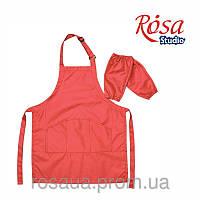 Фартук детский с нарукавниками, красный, ROSA Studio