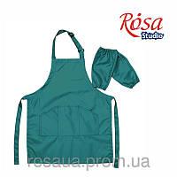 Фартук детский с нарукавниками, зеленый, ROSA Studio