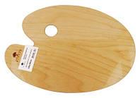 Палитра деревянная, овальная, эргономичная, промасленная, 25x35см, ROSA