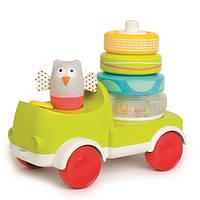 Развивающая машинка с пирамидкой Совушка-малышка 2-в-1 Taf Toys