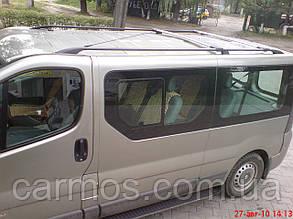 Поперечины (багажник) аэродинамические на рейлинги Рено Трафик (Renault Trafic) цвет черный крепление Abs