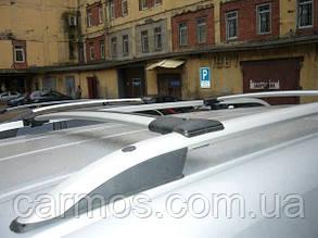 Поперечины (багажник) аэродинамические на рейлинги Кадди (Volkswagen Caddy) цвет хром, крепление Abs