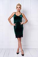 Женское стильное бархатное платье-комбинация с кружевом (4 цвета)