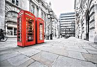Фотообои, телефонная будка, город, красный, серый,   ПРЕСТИЖ №7 196смХ136см